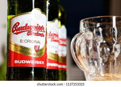 WARSAW/POLAND - JULY 18, 2018: View on pinta and three bottles of Budweiser Budvar - premium export lager beer on the table