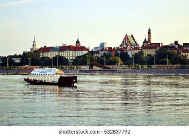 Warsaw,Poland. July 2016. Panorama of Warsaw city with beach and Vistula river