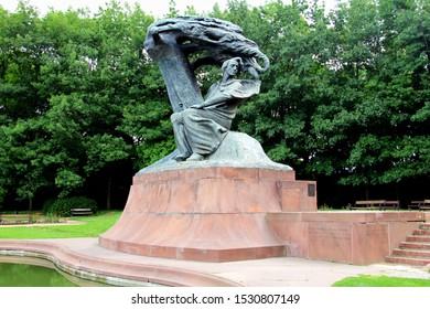 Warsaw/Poland - July 7, 2012:  Fryderyk Chopin Monument in Lazienki Park at Ujazdow Avenue.