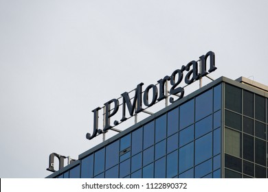 WARSAW/POLAND - June 27, 2018: View on the JP Morgan sign on the top of office building