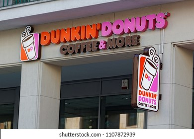 WARSAW/POLAND - June 7, 2018: View on the Dunkin Donuts logotype on the wall