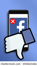 Warsaw,Poland- March 2018: illustrative concept, user deleting Facebook acount due to Cambridge Analytica data leaks.