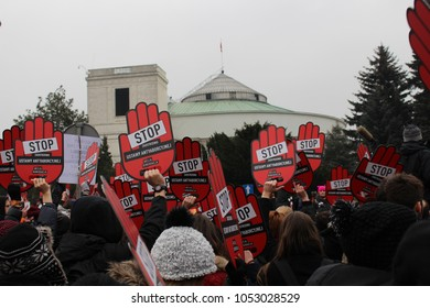"""Warsaw/Poland - March 23 2018: thousands of people protesting against the tightening of the abortion law in Warsaw, Poland, """"stop the tightening of the anti-abortion law"""" sign"""