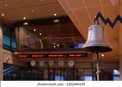 WARSAW/POLAND - March 27, 2018: View on digital quotes, clocks and bell in Warsaw Stock Exchange (WSE, GPW) trading room