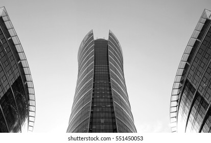 Warsaw,Poland. May 2016.Modern building.Warsaw Spire. Black and white