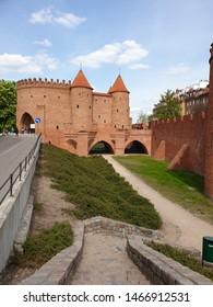 Warsaw/Poland - May 4, 2019: Fortified medieval outpost and winding paths. Historic Warsaw Barbican in the Old Town