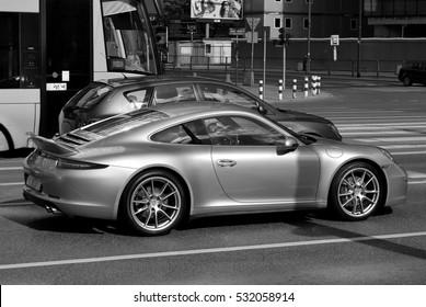 Warsaw,Poland. September 2015.Motor car Porsche 911 in the street.