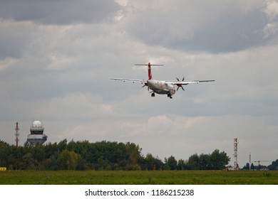 """WARSAW/POLAND - SEPTEMBER 22, 2018: ATR 72-500 of Czech Airlines (OK-GFQ) with """"95-years"""" inscription landing at Chopin Airport"""