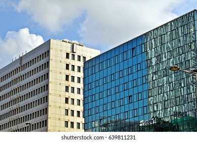 Warsaw,Poland.12 May 2017.Architectural details of modern building.Rondo1 office tower located at the roundabout of the United Nations in Warsaw.Building was designed by architectural studio Skidmore,
