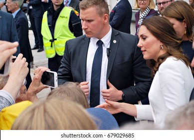 Warsaw,Poland.17 July 2017.Kate Middleton among the crowds in Warsaw. Huge crowds of people have been pictured cheering Kate and William along on their royal visit.