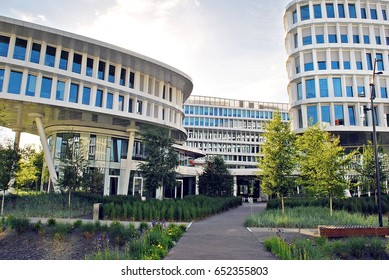 Warsaw,Poland.2 June 2017.Business Garden complex.Seven independent buildings characterized by original architecture and an internal green garden. More than 90000 m² of modern office and amenity space