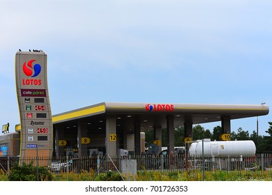 WARSAW,POLAND-AUG 13: LOTOS gas station on August 13,2017 in Warsaw,Poland.Lotos S.A. is a vertically integrated oil company based in Gda?sk, Poland.
