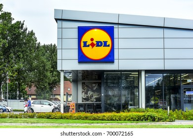 WARSAW,POLAND-AUG 13:LIDL supermarket on August 13,2017 in Warsaw,Poland.