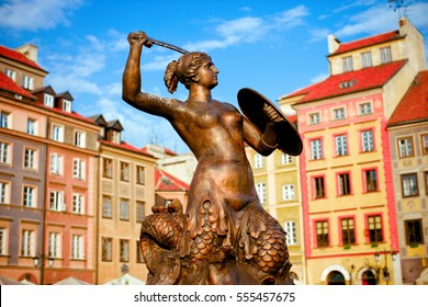 "Warsaw's Old Town Square with Mermaid ""Syrena"" Statue in the center."