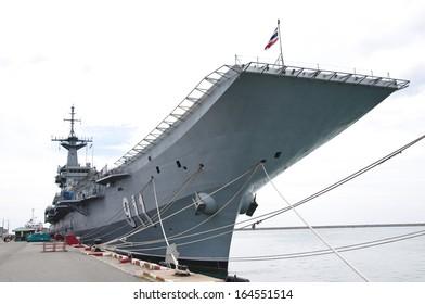 Warship at the harbor, Thailand