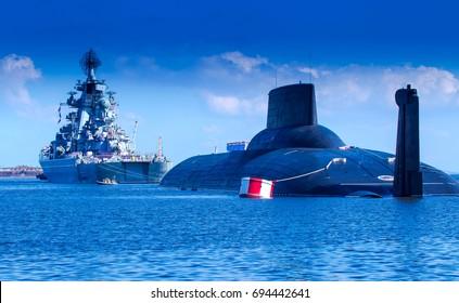 Warship. Missile cruiser. Warships. Submarine. Nuclear submarine.