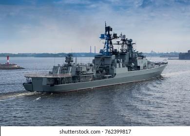 Warship in Sea