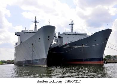 warships in Baltimore, USA