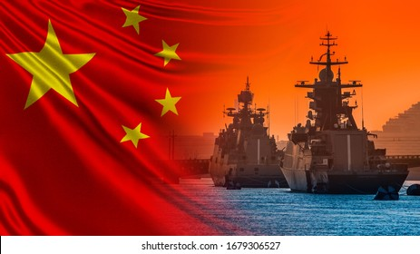 Warships on the background of the flag of China. PRC's Navy. Navy of the Republic of China. Ships of the Chinese Navy. Protecting China's water borders. Fleet of the world's countries.
