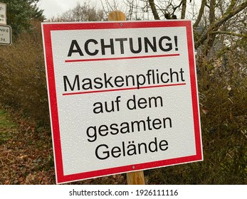 Warstein, NRW, Germany - 02.27.2021 : Face mask mandatory sign in front of a retirement home.