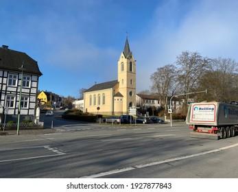 Warstein, NRW, Germany - 03.01.2021 : Evangelical church in downtown Warstein