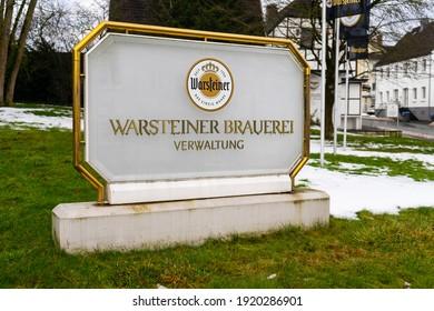 Warstein,NRW,Germany - 02.18.2021: Entrance sign of the Warsteiner brewery
