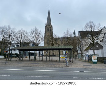 Warstein,NRW,Germany - 05.03.2021 : Market place in the city of Warstein in the Sauerland region.