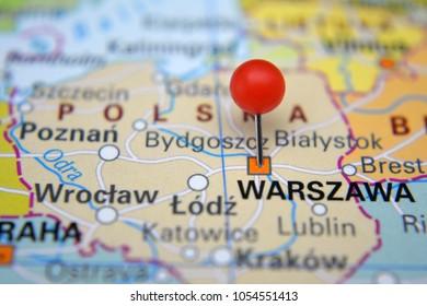 Warszawa marked on map with red pin, Polska