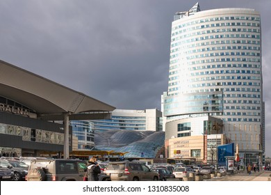 "Warszawa / Poland - 02.06.2019: Skyscrapers in Warsaw, modern and communism architecture. Shopping mall ""Zlote Tarasy"" (Golden Terraces)"