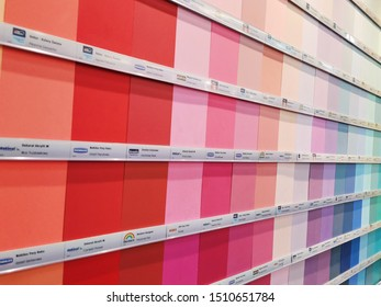Warszawa, POLAND - 11 May 2019 - Wall paints samples in gradient order.