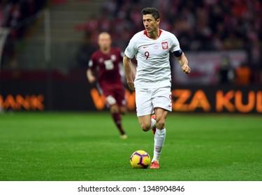 WARSZAWA, POLAND - MARCH 24, 2019: UEFA Euro 2020 draws Poland - Latviao/p: Robert Lewandowski (Poland)