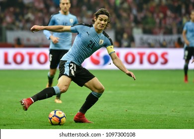 WARSZAWA, POLAND - NOVEMBER 10, 2017: PGE National Stadium  friendly match Poland vs Uruguay 0:0. In action Edinson Cavani.