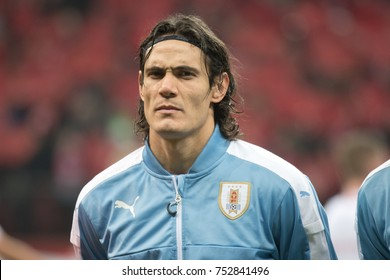 WARSZAWA, POLAND - NOVEMBER 10, 2017: PGE National Stadium  friendly match Poland vs Uruguay 0:0. Edinson Cavani during presentation.