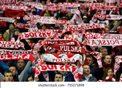 WARSZAWA, POLAND - NOVEMBER 10, 2017: PGE National Stadium  friendly match Poland vs Uruguay 0:0. Polish supporters with scarfs.