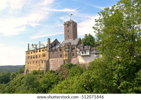 Wartburg Castle in Eisenach,, Germany is a UNESCO World Heritage Site