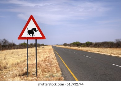 Warthog crossing sign on namibian road