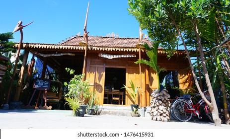 """""""Warung Omah Sawah"""", Yogyakarta, Indonesia - August 6, 2019: Traditional ornaments at """"Warung Omah Sawah"""". This restaurant is a traditional Indonesian food restaurant located in Yogyakarta."""