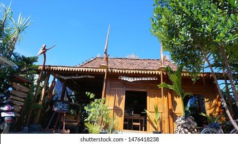 """Warung Omah Sawah"", Yogyakarta, Indonesia - August 6, 2019: Ornaments at ""Warung Omah Sawah"". This restaurant is a traditional Indonesian food restaurant located in Yogyakarta."