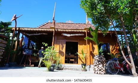 """Warung Omah Sawah"", Yogyakarta, Indonesia - August 6, 2019: Situation at ""Warung Omah Sawah"". This restaurant is a traditional Indonesian food restaurant located in Bantul Yogyakarta."