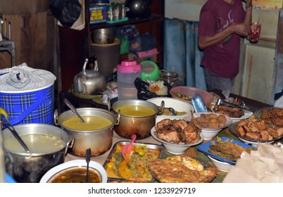 A warung sells street foods in the long avenue of Malioboro; Yogyakarta; Central Java, Indonesia