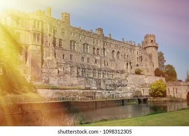 Warwick, Warwick Castle, UK, May5,2018.Warwick Castle viewed from the river side.