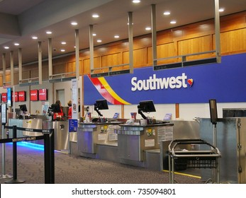 WARWICK, RHODE ISLAND—SEPTEMBER 2017: Check-in counters for Southwest Airlines at the T. F. Green Airport in Warwick, Kent County, Rhode Island.