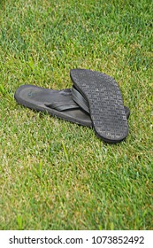 Warwick, Rhode Island/USA- August 6, 2016: A vertical image of a pair of men's black sandals left behind and overturned in the grass.