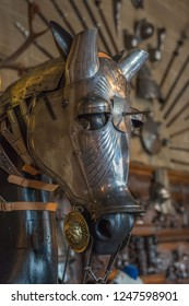 Warwick, UK - July 2018: Warwick Castle, equestrian horse body armour on display in the grand hall