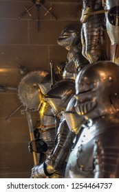 Warwick, UK - July 2018: Warwick Castle, The Grand Hall with lots of artefacts include various suits of armour and weapons