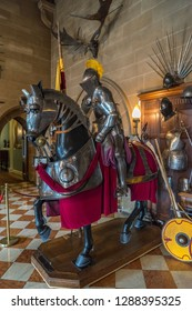 Warwick, UK - July 2018: Warwick Castle, equestrian body armour on display in the grand hall