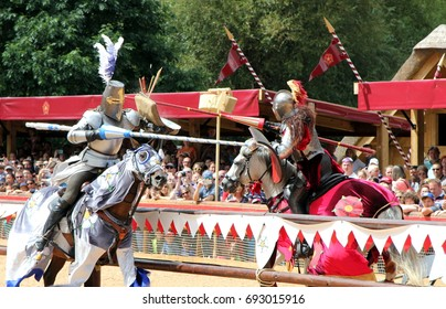 Warwick, UK - July 22 2017: Jousting tournament and medieval re-enactment of the Wars of the Roses at Warwick Castle
