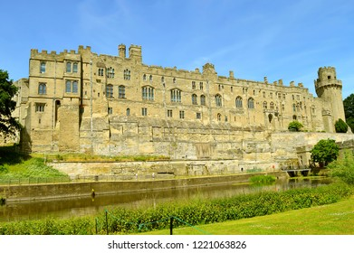Warwick, Warwickshire, England, United Kingdom - June 24, 2018 : The historical medieval Warwick Castle in Warwickshire