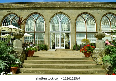 Warwick, Warwickshire, England, United Kingdom - June 24, 2018 : The historical medieval Warwick Castle conservatory in Warwickshire