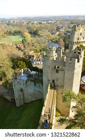 Warwick, Warwickshire, England, United Kingdom - February 22, 2019 : The historical medieval Warwick Castle in Warwickshire viewed from Guy's Tower